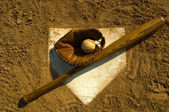Vintage baseball on base — Stock Photo