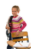 Pretty School Girl with books and backpack — Stock Photo