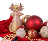 Christmas Ornaments with angel tree topper — Stock Photo