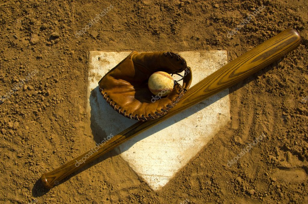 Vintage baseball with bat on home plate  Stock Photo #13932002
