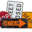 Stock Photo: Various road signs on white background