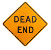 A yellow dead end sign on a white background — Stock Photo