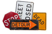 Various road signs on a white background — Stock Photo