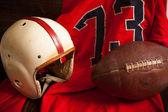 Antique American Football Equipment — Stock Photo