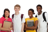 Multi-ethnic college students/friends with backpacks and books o — Stockfoto