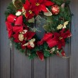 A red Christmas wreath on a wooden door — Stock Photo