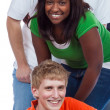 A group of young college students and friends on white — Stock Photo