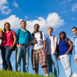 Group of diverse students, friends outside — Stock Photo