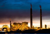 Coal power plant at night — Stock Photo