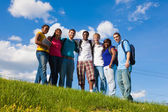 Group of diverse college students friends — Stock Photo