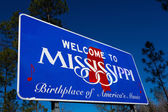 Welcome to Mississippi state Road sign — Stock Photo