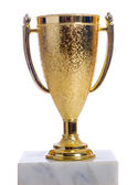 Gold trophy on a marble base with white background — Stock Photo