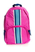 Pink polka dotted backpack on white — Stock Photo