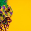 Colorful group of Mardi Gras or venetian mask or costumes on a y — Stock Photo #40640051