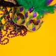 Colorful group of Mardi Gras or venetian mask or costumes on a y — Stock Photo #40640067