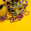 Colorful group of Mardi Gras or venetian mask or costumes on a y — Stock Photo #40737359