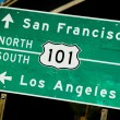 Stock Photo: A green US 101 North South highway sign