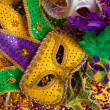 Colorful group of Mardi Gras or venetian mask or costumes on a y — Stock Photo #41525963