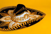 Ornate Gold, black and white Mexican sombrero — Stock Photo