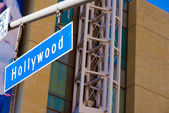Blue Hollywood Street sign — Stock Photo