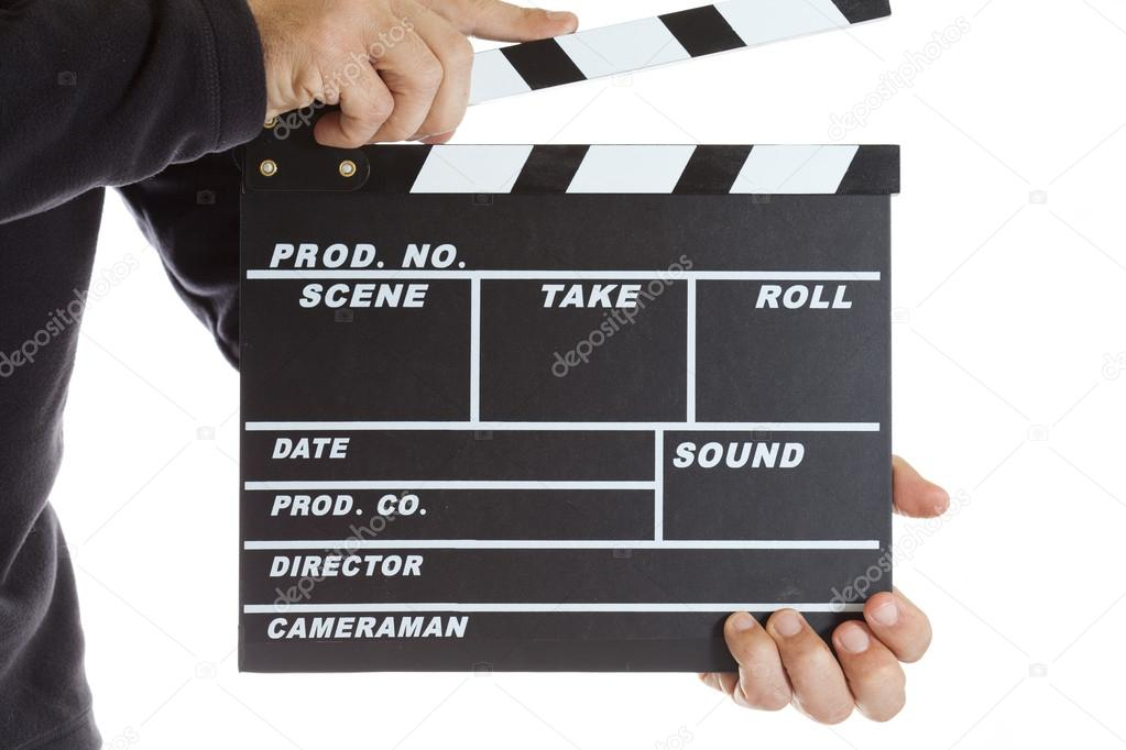 Movie clapperboard on a white background — Stock Photo #19350933