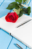 Book with a rose — Stock Photo