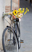 Bicycle leaning against the wall — Stock Photo