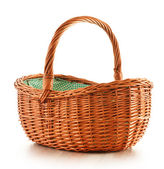 Empty wicker basket isolated on white — Foto de Stock