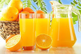 Composition with two glasses of orange juice and fruits — Stock Photo