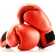 Pair of red leather boxing gloves isolated on white — Stock Photo #17392427