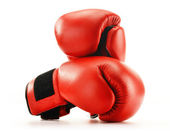 Pair of red leather boxing gloves isolated on white — Stockfoto