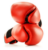 Pair of red leather boxing gloves isolated on white — Foto de Stock