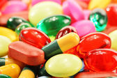Composition with dietary supplement capsules and drug pills — Stock Photo