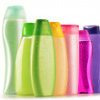 Plastic bottles of body care and beauty products — Stock Photo #17989963