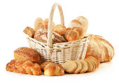 Composition with bread and rolls isolated on white — Stock Photo