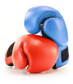 Pair of red and blue leather boxing gloves isolated on white — Stock Photo