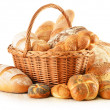 Bread and rolls in wicker basket isolated on white — Stock Photo #19066617