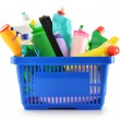 Royalty-Free Stock Photo: Shopping basket with detergent bottles isolated on white