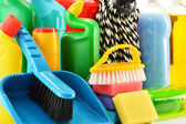 Composition with detergent bottles and chemical cleaning supplie — Stock Photo