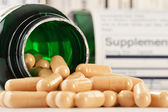 Composition with dietary supplement capsules. Drug pills — Stock Photo