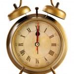 Old alarm clock isolated on white background — Stock Photo
