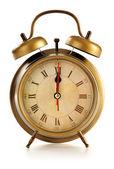 白い背景で隔離に古い目覚まし時計 — ストック写真