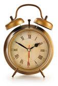 Antigo relógio despertador isolado no fundo branco — Foto Stock