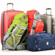 Luggage consisting of large suitcases rucksacks and travel bag - Stok fotoğraf