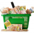 Composition with Euro banknotes in shopping basket - 图库照片