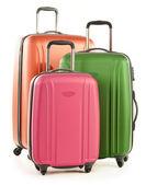 Gepäck bestehend aus großen koffer isoliert auf weiss — Stockfoto