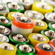Composition with alkaline batteries. Chemical waste - ストック写真