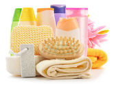 Body care accessories and beauty products isolated on white — ストック写真