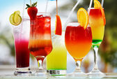 Composition with five glasses of drinks — Stock Photo