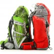 Two tourist backpacks isolated on white - Stock Photo